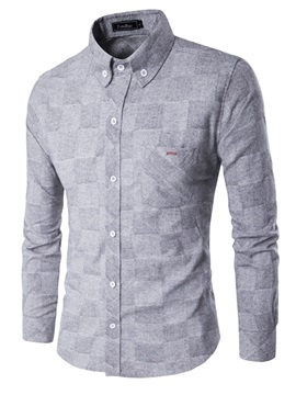 Plaid Chest Pocket Men's Long Sleeve Shirt