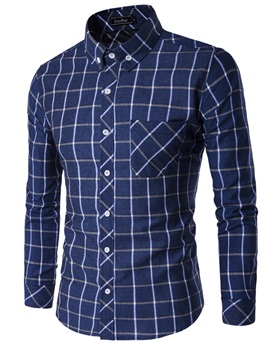 Plaid Chest Pocket Men's Casual Shirt