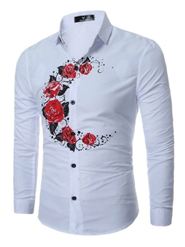 Floral Plain Single-Breasted Men's Casual Shirt