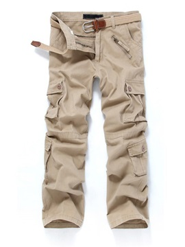 Mid-Waist Cotton Casual Pants