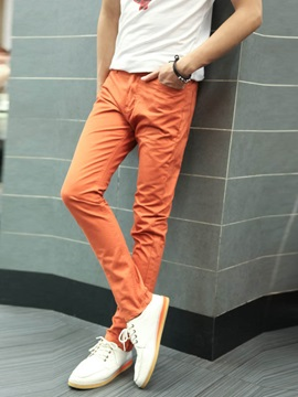 Men's Casual Solid Color Cotton Blends Pencil Pants