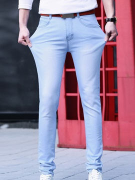 Solid Color Slim Fit Non-Ironing Men's Denim Pants