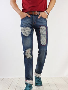 Worn Straight Men's Roll-Cuff Jeans