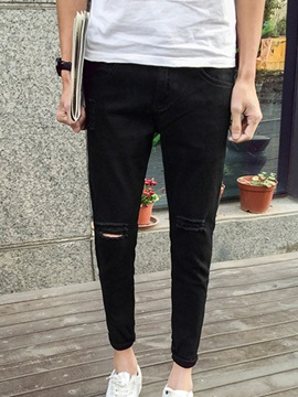 Hole Plain Men's Denim Ankle Length Pencil Pants