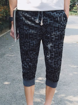 Geometric Printed Lace-Up Men's Casual Pants