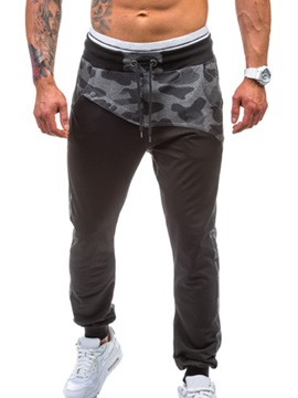 Floral Patch Lace-Up Sports Men's Casual Pants
