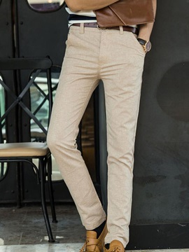 Solid Color Zipper Mid-Waist Men's Straight Casual Pants