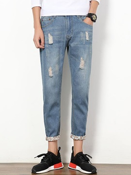 Worn Medium Wash Men's Ankle-Length Pencil Jeans