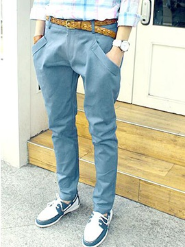 Plain Pocket Men's Casual Pencil Pants