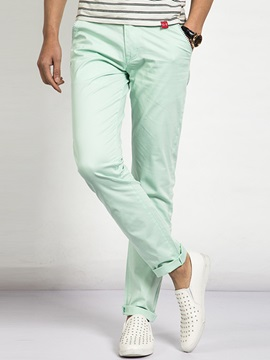 Plain Mid-Waist Roll-Cuff Men's Casual Pants