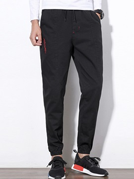 Plain Lace-Up Men's Casual Ankle-Length Pants