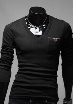 Solid Color V-Neck Long Sleeve T-Shirt