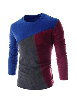 Color Block Round Neck Long Sleeve T-Shirt