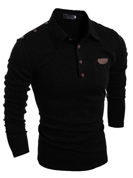 Retro Buttons Chest  Leather Pocket Men's Long Sleeve T-shirt