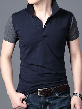 Color Block Stand Collar Short Sleeve Men's Tee