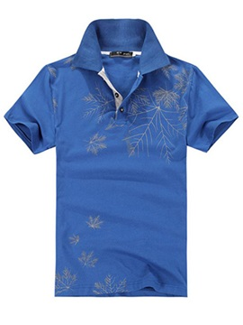 Leaves Printed Buttons Design Short Sleeve Men's Polo