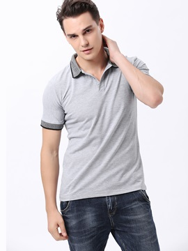 Short Sleeve Lapel Men's Solid Color Polos