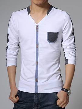 Peaked Lapel Chest Pocket Color Block Men's Tee