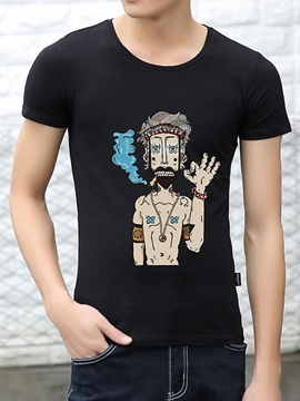 Cartoon Figure Printed Men's Short Sleeve Tee