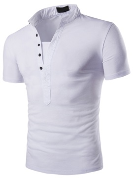 Stand Collar Half-Breasted Men's Tee