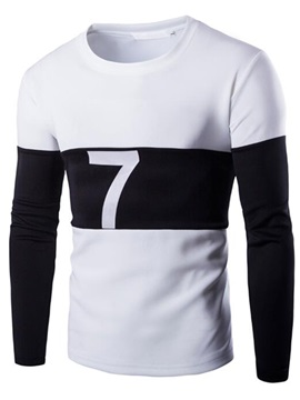 Patchwork Number Printed Men's Round Neck T-Shirt