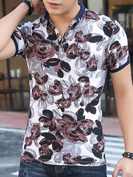 Linen Blends Floral Printed Men's Casual Polo