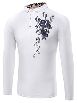 Buttons Men's Floral printed Polo