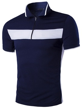 Color Block Short Sleeve Men's Casual Polo