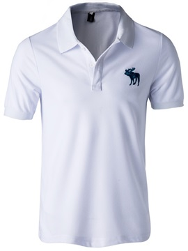 Chest Print Plain Men's Casual Polo