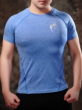 Cotton Blends Elastics Men's Chest Printed T-Shirt