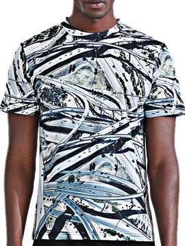 Round Neck Floral Printed Men's Short Sleeve T-Shirt