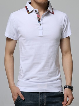 Plain Casual Men's Short Sleeve Polo