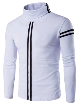 Stripe Stand Collar Men's Causal Long Sleeve Shirt
