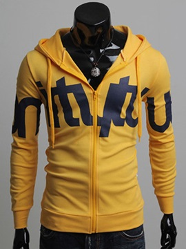 Plus Letter Printed Lace Up Men's Hoodie with Hat