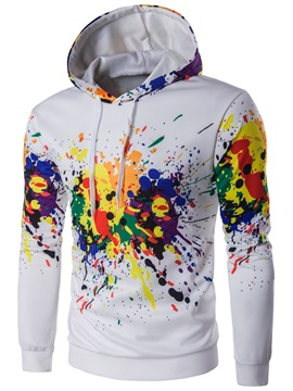 Paint Splatters Cotton Blends Men's Casual Hoodie