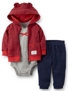 Cute Strip Hooded Animal Printed Romper Three-Piece Boys' Outfit