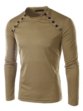 Crew Neck Solid Color Buttons Decorated Men's Tee