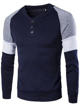 Color Block Buttons Decorated V-Neck Men's Hoodie