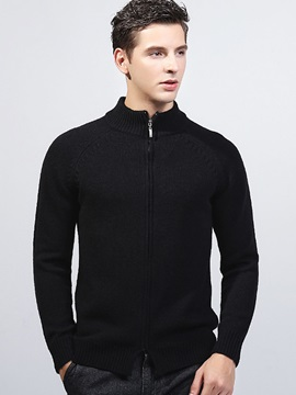 Zipper Stand Collar Men's Solid Color Sweater