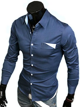 Dark Blue Lapel Single-Breasted Long Sleeve Shirt