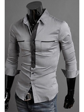 Color Block Double Pockets Men's Shirt