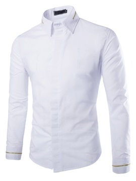 Men's Solid Color Zipped Collar Long Sleeve Men's Shirts