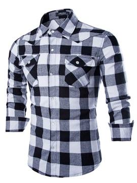 Men's Middle Plaid Two Front Pockets Shirts