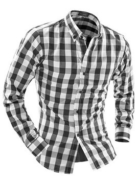 Color Block Plaid Lapel Long Sleeve Men's Shirts