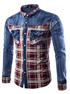 Plaid Block Lapel Single Breasted Men's Denim Shirt