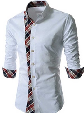 Patchwork Plaid Single-Breasted Men's Long Sleeve Shirt