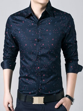Floral Printed Single-Breasted Men's Cotton Blend Shirt