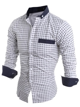 Plaid Decorated Color Block Peaked Lapel Men's Shirt