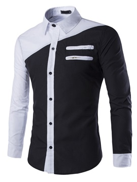 Color Block Front Zip Design Men's Casual Shirt