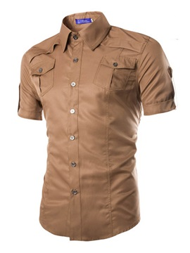 Chest Pockets Single-Breasted Men's Cotton Blend Shirt